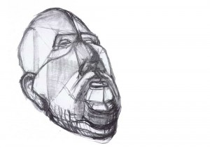 this is a design drawing for a sculpture, it looks like an abstract face of a thoughtful, deliberate man, the material is charcoal on paper, the length is 60 cm and 50 cm width