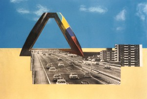 concept landmark level 2000 is a photo composition about an open vertical triangle form and through this coloured sculpture there is a highway, recommended h. 30 m.
